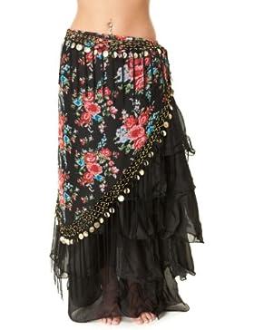 Franja Tribal danza del vientre Bufanda Fusion - en forma de V negro y rosa con monedas de oro