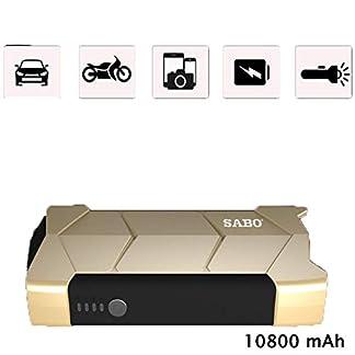 LALEO 600A 10800mAh 12V Arrancador de Coches de Coche (hasta 2, 0L Gasolina), IP68 Impermeable con Carga Rápida QC3.0 USB Linterna LED Bomba de Aire