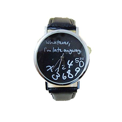 SUNNSEAN Uhr,Mode-Frauen-Leder-Uhr, was Auch Immer Ich Bin Spätestens Brief-Uhren Runde Schwarz Uhr Beiläufig Elegant Klassisch Dünn Armbanduhr (Schwarz)