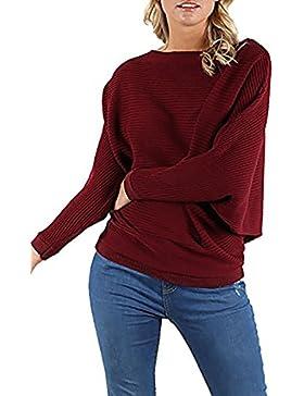 Zara Fashion -Le Donne lavorato a maglia nervatura Batwing oversize Baggy jumper Top