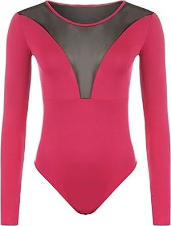 WearAll - Damen Einfarbig Netz Einsatze Rücken Langarm Body Top - Cerise - 36-38