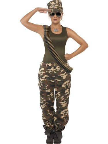 Kostüm Camouflage - Smiffys Karneval Damen Kostüm Militär Soldatin Camouflage Uniform Gr.M 40/42