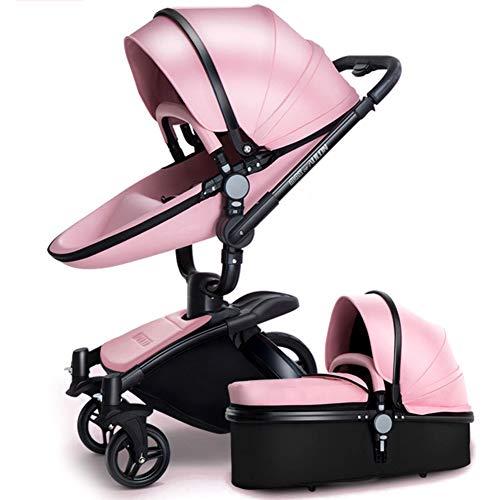 SJZQ Kinderwagen Buggy StoßFester Kinderwagen Mit 360 ° Drehung Kleinkinder Kombikinderwagen Neugeborene 3587,Pink