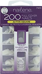 Revlon Nailene Full Cover Nails, Active Square, With Glue 200 Nails