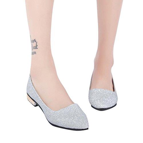 Ballerines Plates Paillettes en Métallisée Cuir Femme Sexy Chaussures  Plates Pointues Automne,Overdose Casual Loafers bf812105e25b