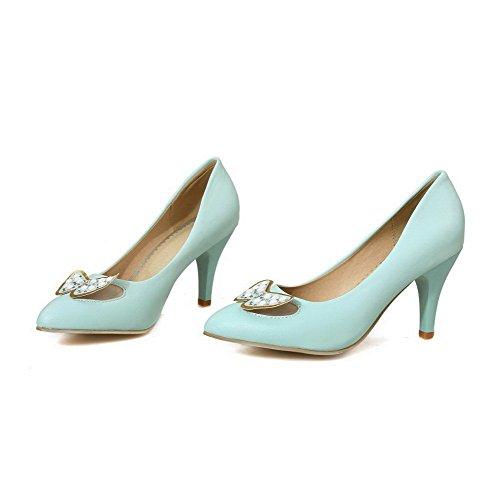 VogueZone009 Femme Tire à Talon Haut Pu Cuir Couleur Unie Pointu Chaussures Légeres Bleu Clair