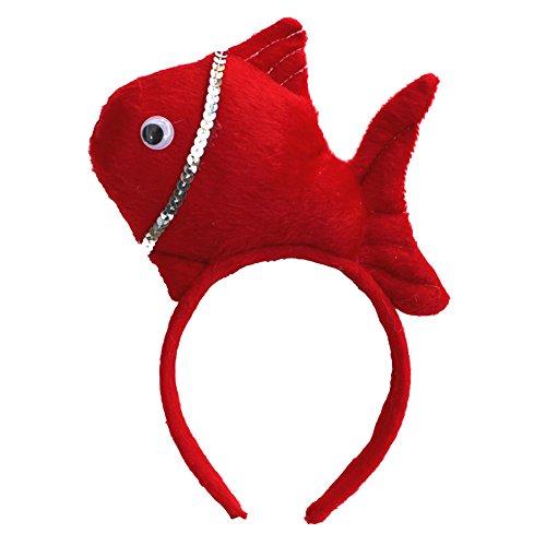 Fisch Roter Kostüme (Cheerlife Plüschtier Cosplay Haarreif Headband Tierset Weihnachten Halloween Karneval Kostüm Zubehör (Rote)