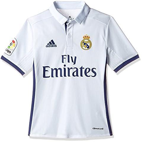 adidas Kinder Real Madrid Heim Trikot, Crystal White/Raw Purple, 140