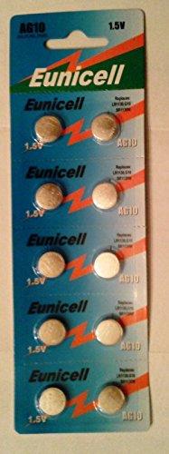 Eunicell AG10 Alkaline-Knopfzellen, Alternativbezeichnungen G10 / LR54 / LR54SW / LR1130 / L1130E / LR1130SW / LL1131 / L1131E / SR1130W / 389 / 390, 10Stück