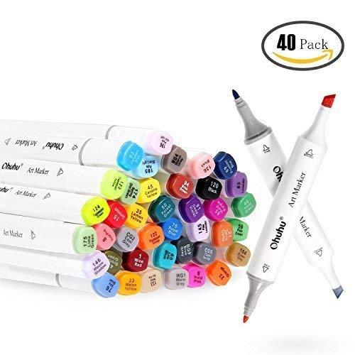 Permanent Marker, Ohuhu 24 Farbe Marker Pen verdoppelt spitzt Kunst Sketch Twin Marker Stifte Färben Highlighters mit Tragetasche für Malerei Coloring Hervorhebungen und Unterstreichunge
