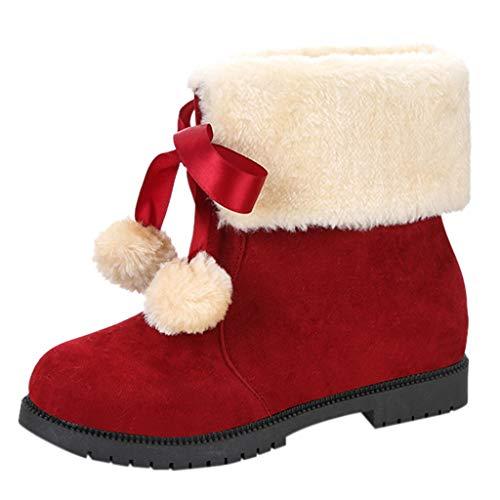 LILIHOT Damen Schnürstiefel Warm Ankle Bare Quadratische Ferse Lässige Short Tube Snow Booties Frauen Round Toe Pure Color Square Heels Schnürschuhe Warm Snow Booties