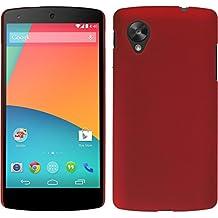 Funda Rígida para Google Nexus 5 - goma rojo - Cover PhoneNatic Cubierta + protector de pantalla