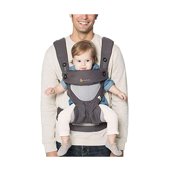 Ergobaby Baby Carrier for Toddler, 360 Cool Air Carbon Grey, 4-Position Ergonomic Child Carrier and Backpack Ergobaby Ergonomic baby carrier for the summer, with 4 ergonomic carry positions: front-inward, back, hip, and front-outward. The carrier is suitable for babies and toddlers weighing 5.5-15 kg, and can be used as a back carrier. Also with insert for newborn babies weighing 3.2-5.5 kg (7-12 lbs), sold separately. NEW - The waistbelt with lumbar support can be worn a little higher or lower to support the lower back and provide optimal comfort, and has adjustable padded shoulder straps. The carrier is suitable for men and women. Maximum baby comfort - Breathable 3D air mesh material provides an optimal temperature for your baby on warm days. The structured bucket seat supports the correct frog-leg position for the baby. The carrier also has a neck support and privacy hood with 50+ UV sun protection. 10