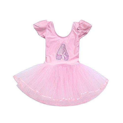 dchen Gaze Trikot Ballett Body Dancewear Kleid Kleidung Outfits Perfektes Kostüm für Karneval(130,Rosa) ()