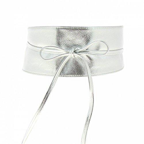 Fashiongen - Damen Taillengürtel Breiter Wickelgürtel MICA - Silber hell, Einheitsgröße