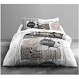 Today 013077 Housse de couette Enjoy Sand 220x240 cm avec 2 taies d'oreiller 63x63 cm Coton Blanc/Beige