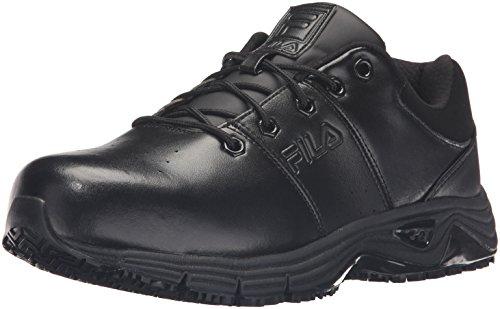 Steel Toe Slip (Fila Men's Memory Breach Work Slip Resistant Steel Toe Low Walking Shoe, Black, 12 M US)
