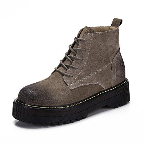 Syksdy Women'S Boots, Lace Ups, Kurze Stiefel, Stiefel, Leder, Martin Stiefel, Dicke Sohlen, Englisch Wind, Nackt (1920 Für Kleid Verkauf)