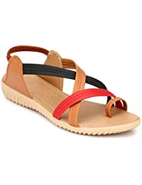 MGZ Women Criss Cross Multi Color Strap Sandal With Light Weight Sole