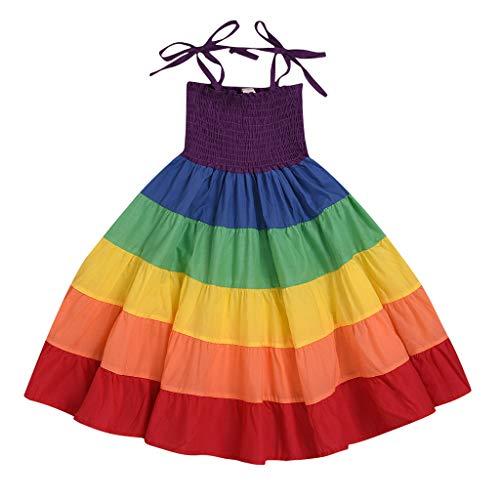Livoral Mädchen Regenbogen Streifen Patchwork Prinzessin Kleid Schwester Baby Kinder Partykleid(Mehrfarbig,100)
