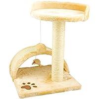 Tiragraffi da 50Cm con Cuccia per Gatti Albero Parco giochi gioco tira graffi per Gatto [Beige] - Wintem
