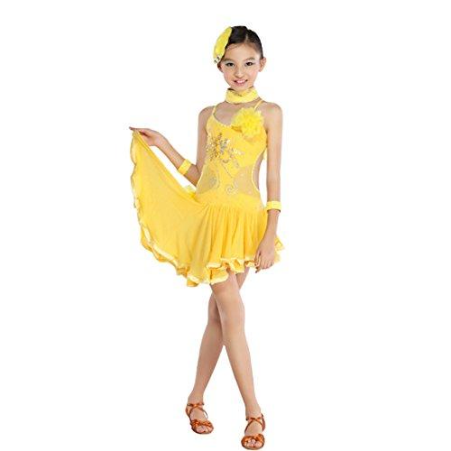 nce Kleid Frauen Pailletten Tassel Rock Damen Latin Dance Kleid Ballsaal Salsa Dance Wettbewerb Kostüme (Ballsaal Tanz Kostüme)