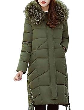 Internert Chaqueta de invierno para mujer Cuello de piel grande Ropa de algodón delgada Largo y grueso algodón...