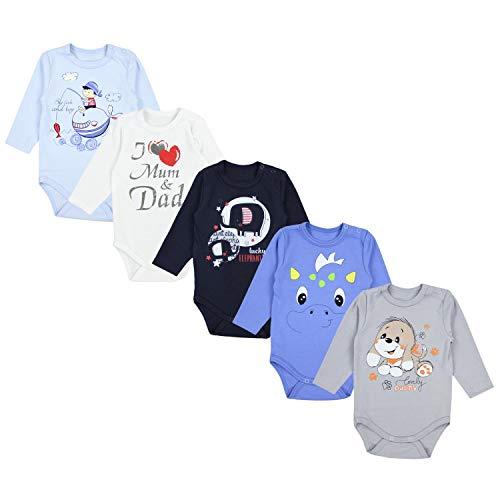 TupTam Unisex Baby Langarm Body mit Aufdruck Spruch 5er Pack, Farbe: Junge 3, Größe: 74