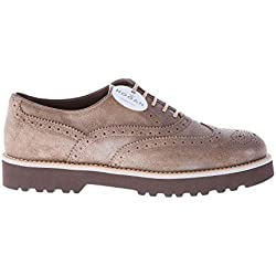 Hogan Route Donna Scarpa Francesina Wingtip in camoscio PALUDE con Suola  Light in Gomma Color Beige 5148a5159e6