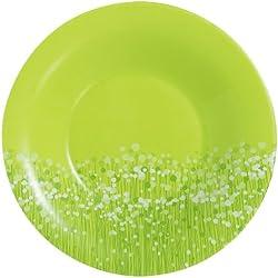 Luminarc 9202493 Flowerfield Anis - Juego de 6 Platos hondos (21 cm), diseño de Flores, Color Verde