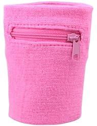suddora Multi Colored cremallera sudor Muñequera, rosa