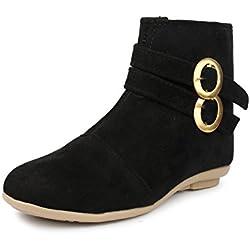 Do Bhai Boot-Double-Buckle Fashionable & Stylish Smart Casual Boots for Women (EU36, Black)