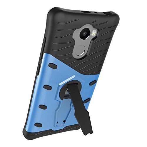 Für Xiaomi Hongmi 4 & 4 Prime & 4 Pro Case Neue Rüstung Tough Style Hybrid Dual Layer Armor Defender Soft TPU / PC Back Cover Case Mit 360 ° Stand [Shockproof Case] ( Color : Gold ) Blue