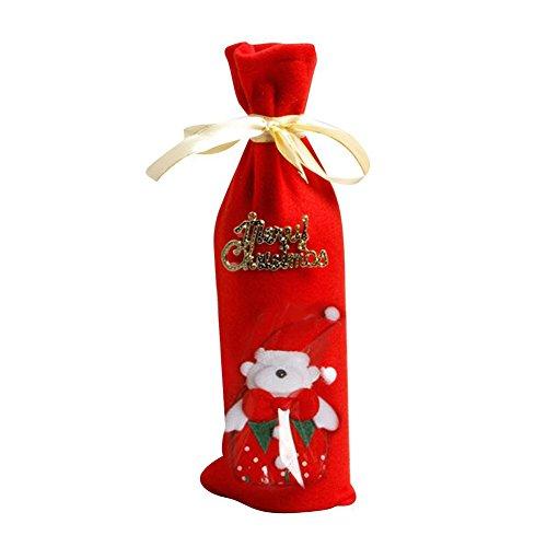 Schneemann Santa Claus Elk Bear Pattern Flasche Rotwein Deckel der Flasche Startseite Weihnachten Party Decoration Christmas Gift, Ours