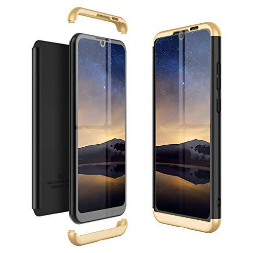 Winhoo Kompatibel mit Huawei Honor Play 8A Hülle Hardcase 3 in 1 Handyhülle 360 Grad Schutz Ultra Dünn Slim Hard Full Body Case Cover Backcover Schutzhülle Bumper - Gold + Schwarz