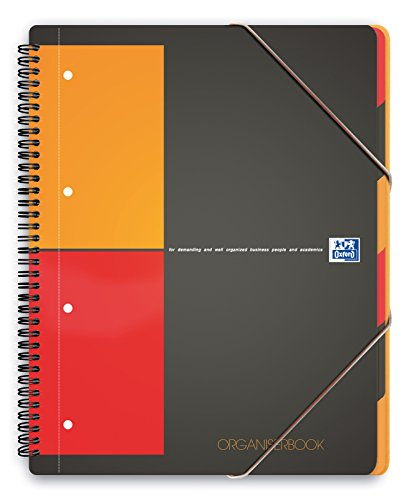 Oxford 100102777 Organiserbook International A4 kariert mit Gummizug, Register und Dokumententasche grau Block