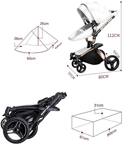 LAZ 2 in 1 Baby Stroller High Landscape 360°Rotating Seat with Lying Position Lightweight Folding Two-Way Awning Storage Basket (Color : Black Rose) LAZ Suitable for baby strollers from birth to 25 kg, each stroller is pressure tested to ensure the safety of each baby. 【TRAVEL SYSTEM FOR OUTDOOR DEMANDS】Our foldable pram pushchair is the best choice for family to go out, which is convenient, saving time and energy while in traveling. When using some vehicles, this foldable will not be trouble, just fold it and carry as the detachable handrail is convenience for use and storage. 【360°SWIVEL SHOCK PROOF WHEELS】We use high-quality materials for wheels which makes it shock proof and also available for long time daily use. It can rotate easily according to your operate. And the 360 degrees swiveling front wheels also features built-in suspension for easy maneuverability. 4