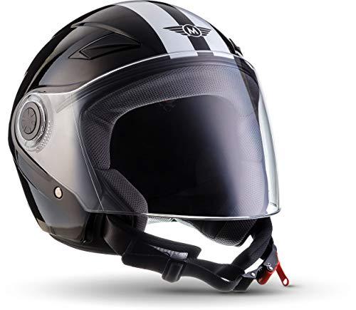MOTO U52 Racing Black · Cruiser Retro Scooter-Helm Motorrad-Helm Roller-Helm Vintage Pilot Helmet Mofa Chopper Biker Jet-Helm Bobber Vespa-Helm · ECE zertifiziert · mit Visier · inkl. Stofftragetasche · Schwarz · XL (61-62cm)
