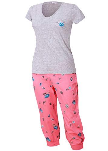 Damen Schlafanzug kurz mit Caprihose Größe S M L XL (grau pink, 48-50) -