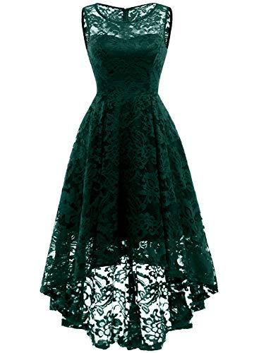 MuaDress MUA6006 Elegant Kleid aus Spitzen Damen Ärmellos Unregelmässig Cocktailkleider Party Ballkleid Grün M