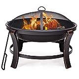 Blitzzauber 24 Feuerstelle Feuerschale Kohlenbecken Feuerkorb Feuerschrank Grillschale mit Funkenschutz Metall inkl. Vollstahlstange
