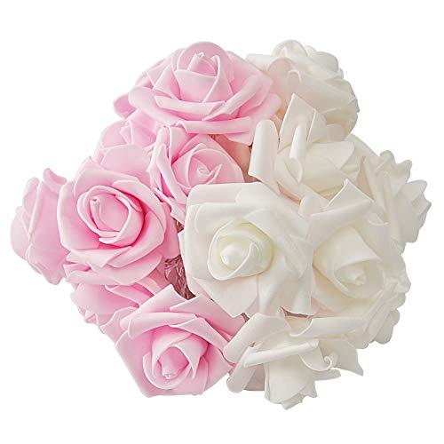 LED White & Pink Rose Lichterkette, warmweiß 3AA batteriebetrieben für Valentinstag, Party, Hochzeit, Schlafzimmer, Indoor oder Outdoor (Batterie nicht enthalten) ()