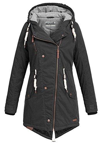 Hailys Damen Jacke Winter Jacke Parka mit Kapuze Zipper seitlich Kordelzug 2 Taschen & 1 Zip Tasche schwarz, Gr: S