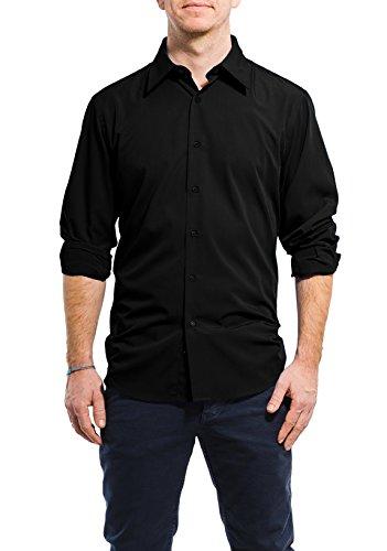Banqert Herren-Langarmhemd Smart Swag Leicht, knitterarm, Bügelarm - Hemd Bügelfrei Männer Freizeithemd Business Einfarbig - Schwarz mit Schwarzen Knöpfen, XXL