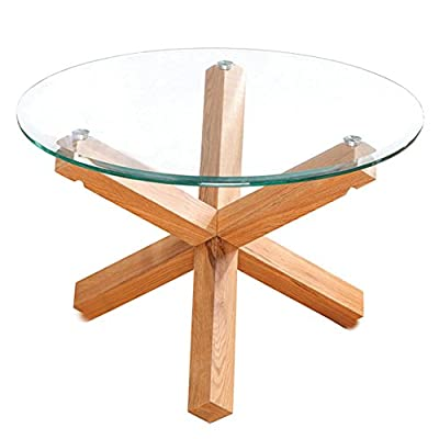 LPD Furniture Oporto Coffee Table, In Oak & Clear Glass