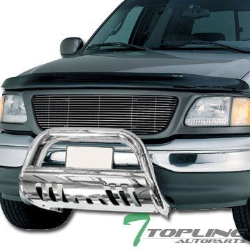 Topline Autopart SS Stainless Steel Chrome HD Heavyduty Bull Bar Brush Push Front Bumper Grill Grille Guard Protector Tubular Tube 97-04 Ford F150 F250 Lightduty 2WD 4WD SuperCrew Heritage Expefition by Topline_autopart