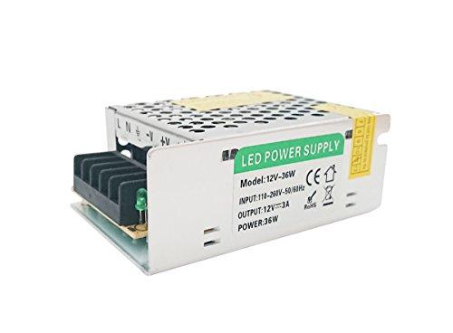 Lumentech fuente de alimentación 12V, fuente de alimentación para tira LED, transformador 220V a 12V. (12V 36W)