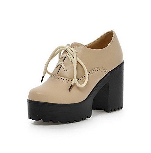 VogueZone009 Femme Lacet Rond Pu Cuir à Talon Haut Couleur Unie Chaussures Légeres Beige