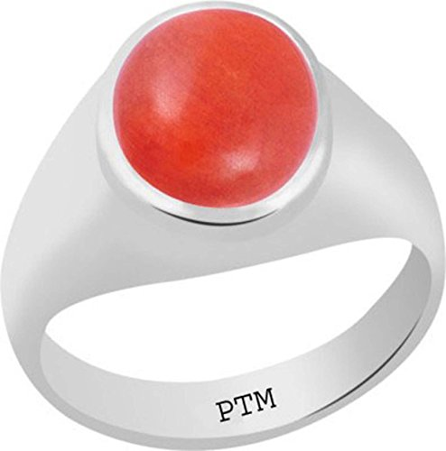 PTM Certified Natural Moonga (Coral) Sterling Silver Ring 8.25 Ratti or 7.50 Carat for Gents-A782522