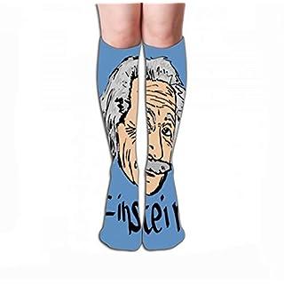 Xunulyn Hohe Socken Men Women Outdoor Sports High Socks Stocking Albert Einstein Sketch Famous Physicist Graphic Tile Length 19.7